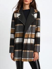 Khaki White Long Sleeve Lapel Plaid Coat
