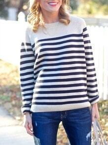 Blue White Long Sleeve Elbow Patch Striped Sweater