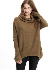 Khaki Long Sleeve Turtleneck Sweater