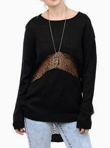 Black Long Sleeve With Lace High Low Sweater