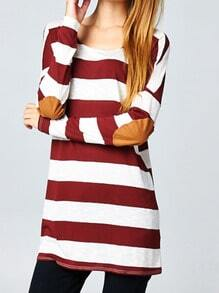 Burgundy White Long Sleeve Elbow Patch Striped T-Shirt