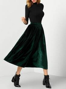 Dark Green High Waist Pleated Skirt