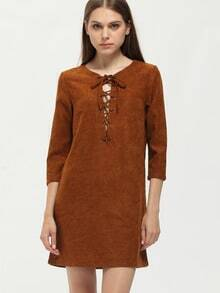 Brown Round Neck Lace Up Dress