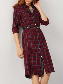 Burgundy Long Sleeve Lapel Plaid Shirt Dress