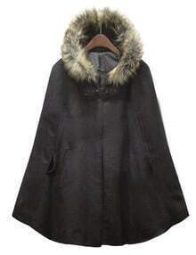 Black Fur Hooded Woolen Cape