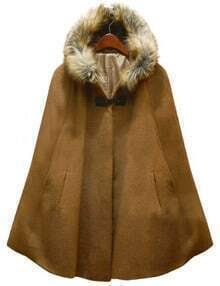Camel Fur Hooded Woolen Cape
