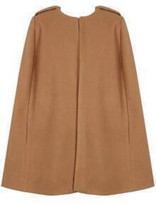 Camel Round Neck Loose Cape