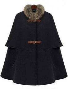 Black Removable Fur Collar Woolen Cape
