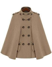 Camel Epaulet Double Breasted Woolen Cape