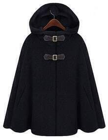 Black Hooded Buckle Woolen Cape