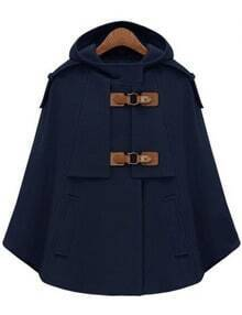 Navy Hooded Pockets Woolen Cape