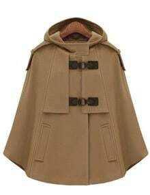 Camel Hooded Pockets Woolen Cape