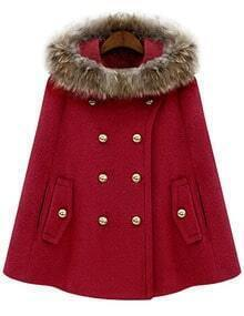 Red Fur Hooded Double Breasted Woolen Cape