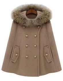 Camel Fur Hooded Double Breasted Woolen Cape