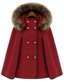 Red Removable Fur Hooded Double Breasted Cape