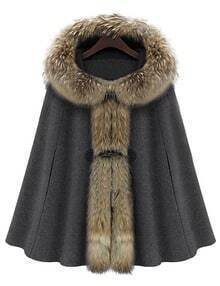 Grey Fur Hooded Loose Woolen Cape