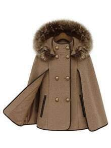 Camel Removable Fur Hooded Double Breasted Cape