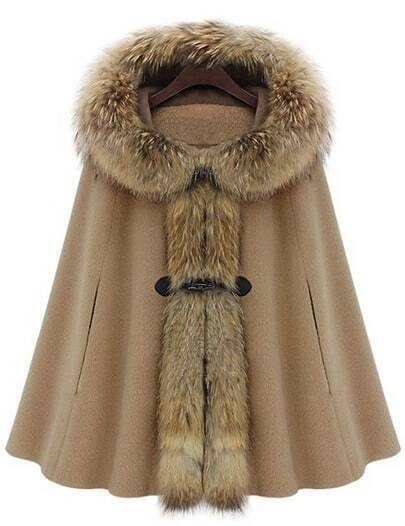 Camel Fur Hooded Loose Woolen Cape