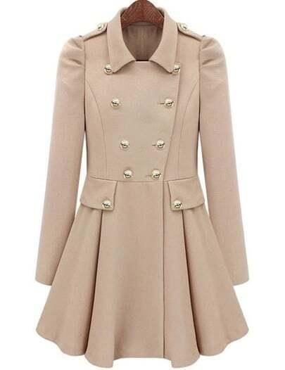Beige Lapel Epaulet Double Breasted Coat