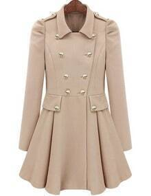 Beige Lapel Epaulet Double Breasted Coat