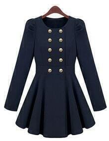 Navy Round Neck Double Breasted Slim Coat