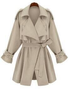 Beige Lapel Epaulet Tie-Waist Trench Coat