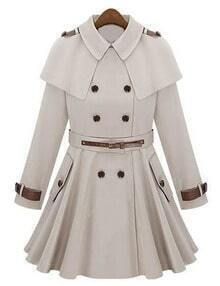 Beige Epaulet Double Breasted Cape Coat