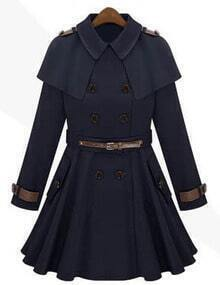 Navy Epaulet Double Breasted Cape Coat
