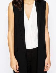 Black Notch Lapel Long Vest