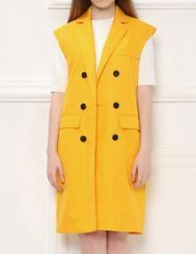 Yellow Notch Lapel Double Breasted Slim Vest