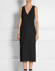 Black V Neck Sleeveless Split Dress