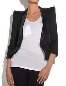 Black Alice Shoulder Crop Blazer