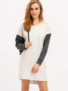White Grey Long Sleeve Color Block Casual Dress