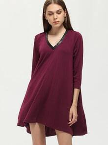 Purple V Neck Casual Dress
