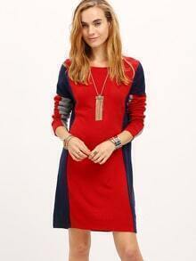 Red Blue Long Sleeve Color Block Dress