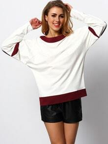 White Burgundy Long Sleeve Color Block T-Shirt