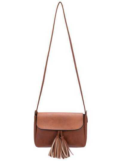 Brown Magnetic Fringe PU Bag