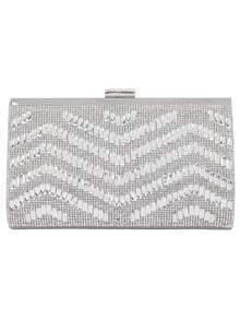 Silver Crocodile Bead Chain Bag