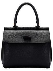 Black Zipper PU Bag