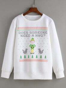 White Round Neck Christmas Print Sweatshirt