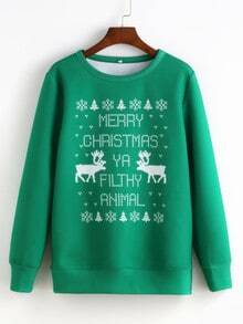 Green Round Neck Christmas Print Sweatshirt