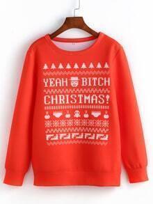 Red Round Neck Christmas Print Sweatshirt