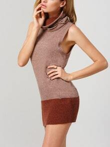 Khaki Turtleneck Sleeveless Ripped Sweater Dress