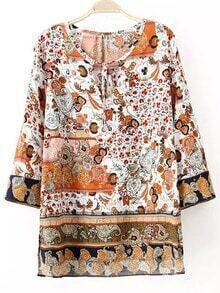 Colour Tie-neck Floral Loose Blouse