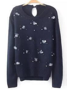 Navy Round Neck Bead Split Sweater