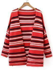 Red Black Long Sleeve Striped Sweater Coat