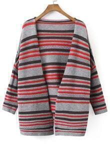 Colour Long Sleeve Striped Sweater Coat
