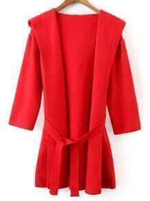 Red Hooded Tie-Waist Sweater Coat