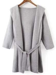Grey Hooded Tie-Waist Sweater Coat