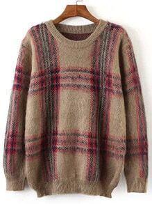 Khaki Round Neck Plaid Loose Sweater